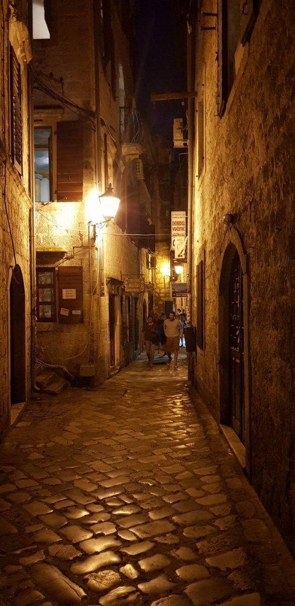 Kotor street by night