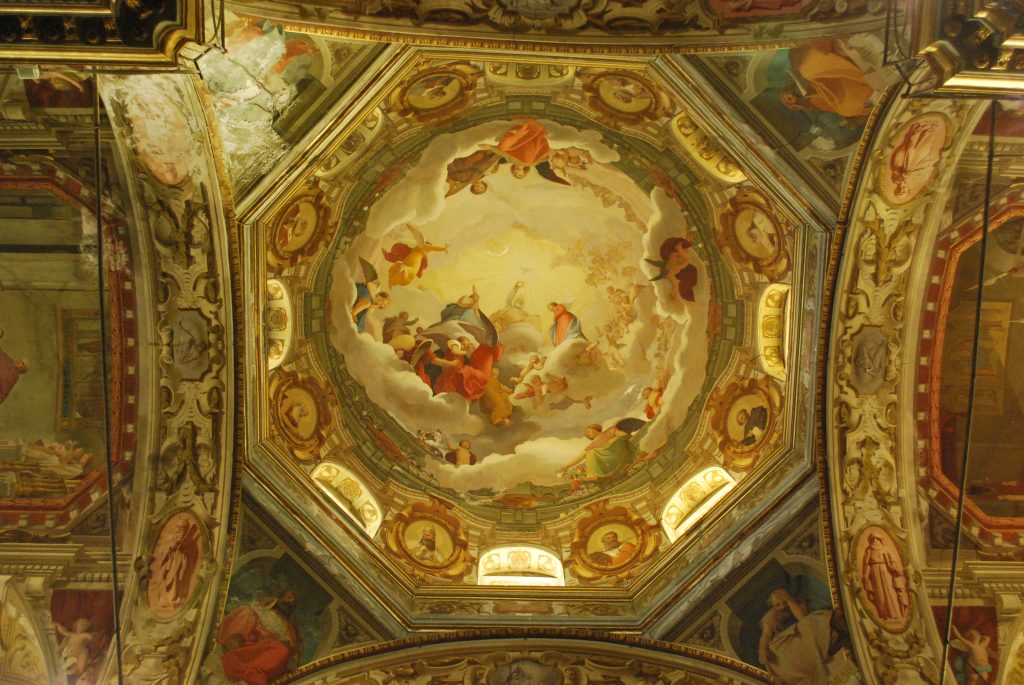 The ceiling of the dome above the crossing