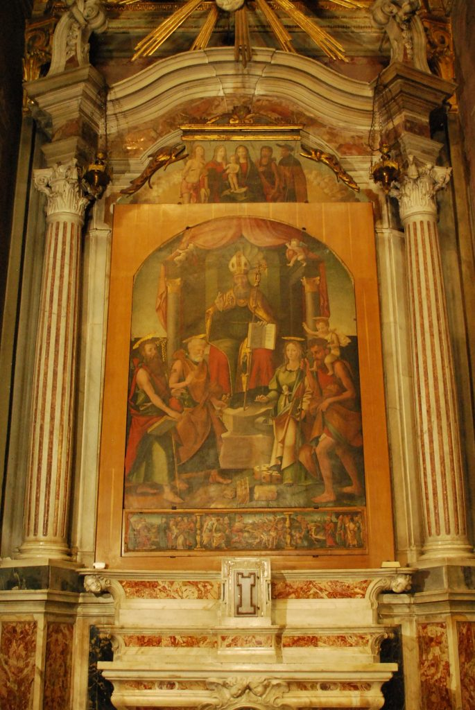 Painting of San Baigio, attributed to Pancalino dated 1540