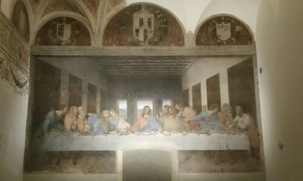1494 -1498. Da Vinci's Last Supper. The refectory of the Dominican convent of St Maria della Grazie housing this and the ..... was completely demolished during WWII, apart from the two walls with the paintings on. (This isn't a blurred photo, the painting looks pretty fuzzy for real!)